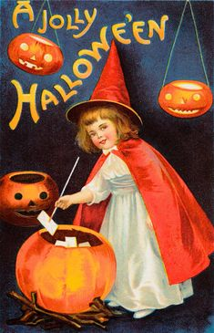 These vintage Halloween cards are beautiful, and a little eerie! >>> c. 1910s: Vintage Halloween Cards