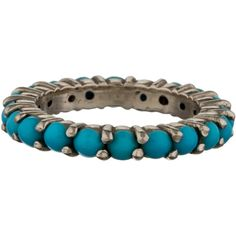 Pre-owned Turquoise Eternity Band ($315) ❤ liked on Polyvore featuring jewelry, rings, gold, eternity ring, blue turquoise ring, 14 karat gold jewelry, 14 karat gold ring and preowned jewelry