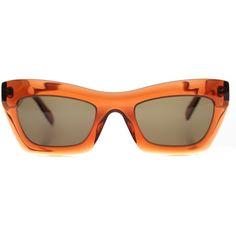 Celine Eva CL 41399 EFB Dark Orange Cat-Eye Plastic Sunglasses ($229) ❤ liked on Polyvore featuring accessories, eyewear, sunglasses, orange, cat-eye glasses, cat eye sunnies, orange sunglasses, cateye sunglasses and cat eye sunglasses