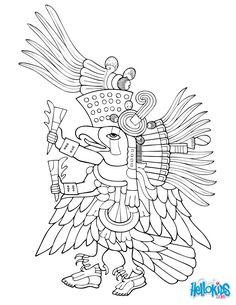 Voici un coloriage historique sur la culture aztèque avec Ehecatl. Un Coloriage original pour faire découvrir l'histoire et la mythologie aux enfants de manière ludique.