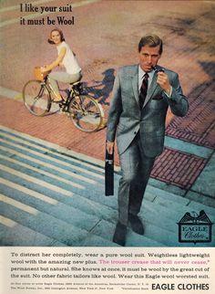 Vintage Print Ad April 1963 : Eagle Clothes by NostalgicDreamsCND 1960s Fashion Mens, Retro Fashion, Vintage Fashion, Vintage Ads, Vintage Prints, Barefoot In The Park, Ivy Style, Men's Style, Disco Fashion