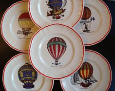Set of six transfer decorated plates by Longchamps FRANCE commemorating historic hot air balloons.