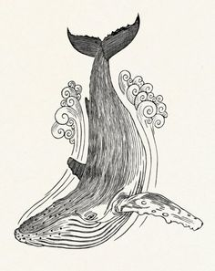 GRAHAM BLAIR WOODCUTS WHALE II Hand-cut and hand-pulled woodblock print