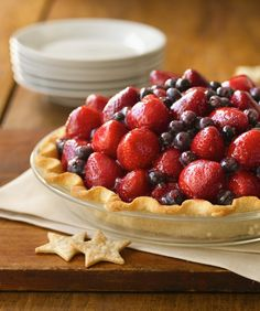 For a patriotic party-pleaser, try this winning entry from the 2010 State Fair Pie Contest for the State of Oklahoma. To avoid a soggy pie, try draining strawberries upside-down after washing to cut down on excess moisture.