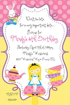Alice in Wonderland Tea Party Birthday Invitation by beenesprout, $12.50