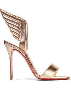 Christian Louboutin Samotresse 100 Metallic Leather Sandals, Gold, Women's US Size: 8, Size: 38.5