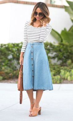 Midi Jeans Rock kombinieren - Cocktail dress new Mode Outfits, Skirt Outfits, Fall Outfits, Casual Outfits, Fashion Outfits, Womens Fashion, Skirt Fashion, Trendy Fashion, Spring Fashion