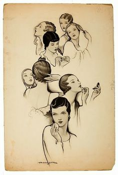 Faces , vintage watercolor and ink artwork by Thornton D. Looks Vintage, Vintage Love, Vintage Art, Vintage Ladies, Vintage Cups, Pelo Vintage, Moda Vintage, Vintage Makeup, Vintage Beauty