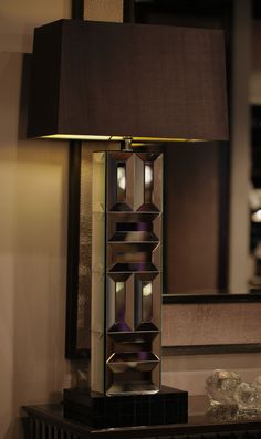 """Special Order Design: 37"""" Tall Art Deco Mirrored Tower Lamp * Click Image For Full Screen View"""