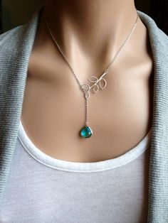Sale  Silver Twig Lariat with Sea Green Glass by PiperBlue on Etsy, $23.00