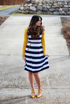 ASOS striped dress and Sole Society heels spring outfit from The Red Closet Diary blog. #fashionblogger #fashion