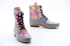 Leather Lace Up Boots Pixel shoes Made per order by Pleasemachine