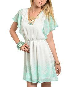 Another great find on #zulily! Ivory & Mint Blouson Dress - Women by Buy in America #zulilyfinds