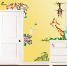 Jungle Zoo Nursery Theme Jumbo Wall Vinyl Decals 21 Piece Set Reusable Bedroom