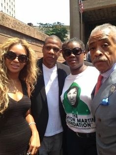 Jay Z and Beyonce with Rev. Al Sharpton and Trayvon Martin's mother Sybrina Fulton at the Justice For Trayvon vigil in New York City