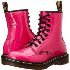 Dr. Martens 1460 W Women's Lace-up Boots ($125) ❤ liked on Polyvore featuring shoes, boots, ankle booties, pink, girl shoes, mid-calf boots, lace up ankle booties, patent leather boots, victorian boots and dr martens boots