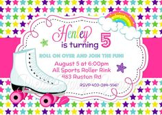 RAINBOW ROLLER SKATE invitation  You Print by PrettyPartyCreations, $11.50