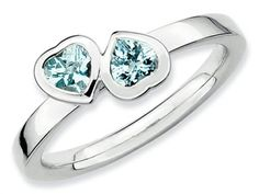 Stackable Expressions Sterling Silver Aquamarine Double Heart Stackable Ring