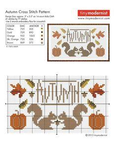 Hello Autumn Cross Stitch Chart and Free Autumn Embellishment