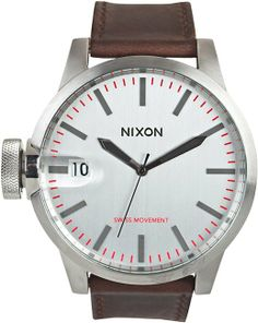 NIXON THE CHRONICLE LEATHER WATCH - $300 bezel is a little large, but still a classic looking timepiece