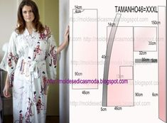 MOLDE DE ROBE As I know you appreciate easy modeling today I propose an easy to make robe mold in size In the Brazilian table corresponds to size Never Lingerie Patterns, Clothing Patterns, Dress Patterns, Sewing Clothes, Diy Clothes, Dress Sewing, Kimono Diy, Half Sleeve Shirts, Kimono Pattern