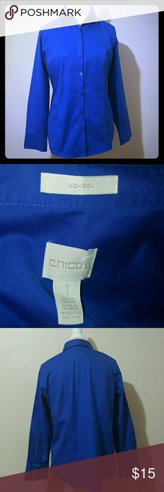 Chicos women's Button down Navy Blue Worn only twice. Like brand new. Classic crisp button down. Chico's Tops Blouses