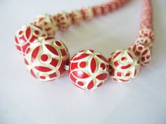 Art Deco Carved Galalith Necklace Red & White Flower design 1930's Early Plastic FREE SHIPPING