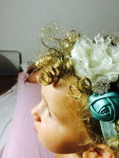 Fascia verde e panna, fiocco, nastro capelli, baby, headband, bow, satin , ribbon,