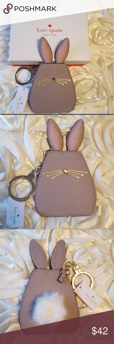 🐰**SALE**Kate Spade Hop To It bunny keychain fob NWT Kate Spade Hop To It bunny keychain/key fob. This keychain is adorable,and has a fluffy white cotton tail on the back,with soft velvety ears. It is so cute for Easter! Keychain also comes with Kate Spade box. Bundle with other Kate Spade items in my closet! I ship same day or next day! **SALE PRICE IS FIRM. SALE ENDS FRIDAY NIGHT** kate spade Accessories