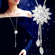 Lemon Value Fashion Luxury Water Drop Rhinestone Pendant Crystal Long Necklaces Vintage Charms Women Wedding Jewelry Gift A124 *** Visit the image link more details.