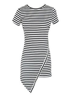 Monochrome Stripe Asymmetric Hem Bodycon Dress