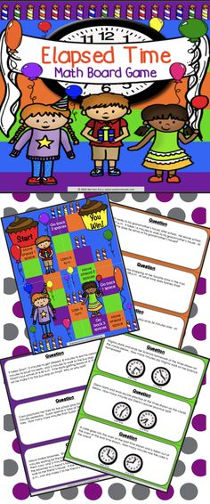 Elapsed Time Game contains 30 WORD PROBLEM game cards and a game board to help students practice solving elapsed time problems within time intervals of 1 hour This game works great as a pair/group activity, or for use in math centers. Teaching Time, Teaching Math, Teaching Ideas, Special Education Classroom, Math Classroom, Third Grade Math, Fourth Grade, Math Resources, Math Activities
