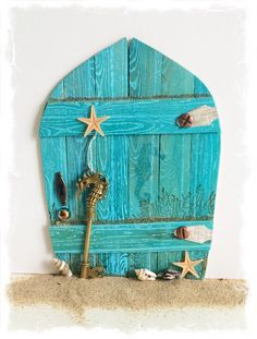 NEW Handcrafted Water Fairy Door / Mermaid Fairy Door / Water Pixie Door (Turquoise Pointed Arch)