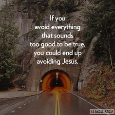 If you avoid everything that seems too good to be true, you could end up avoiding Jesus.  -Seth Dahl, Bethel Church Children's Pastor, Redding, CA