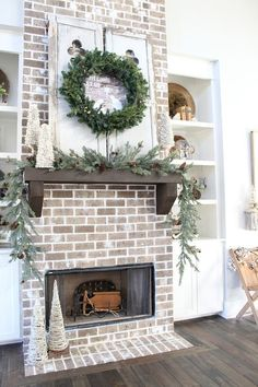 Whiten grout for a different look - Farmhouse Brick Fireplace Christmas Decorating Ideas. Whiten grout for a different look - Farmhouse Brick Fireplace Christmas Decorating Ideas. Farmhouse Fireplace Mantels, Brick Fireplace Makeover, Fireplace Mantle, Fireplace Design, Fireplace Ideas, Christmas Fireplace, White Wash Brick Fireplace, Brick Hearth, Stone Fireplace Decor