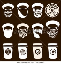 stock vector : Coffee to go cup set. Coffee cup vector sign, icons. Coffee labels and badges design.