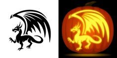 Dragon pumpkin carving stencil. Free PDF pattern to download and print at http://pumpkinstencils.org/download/dragon-pumpkin-stencil/