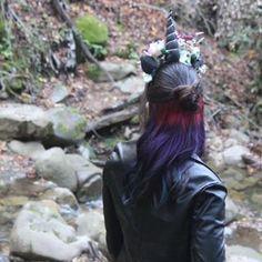 Unicorn headband paired with Unicorn hair.