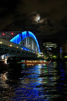 Eitai bridge - Sumida River, Tokyo, Japan Tokyo Tour, Tokyo City, Tokyo Japan, Beautiful Places, Beautiful Pictures, Tokyo Night, Covered Bridges, National Geographic Photos, Urban Landscape