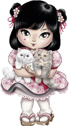 Pictures to Paint. Here you will find beautiful drawings to paint and guarantee hours of fun for adults and children. Illustration Mignonne, Cute Illustration, Art Illustrations, Cute Images, Cute Pictures, Art Mignon, Gata Marie, Cute Clipart, Japanese Embroidery
