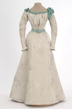 pearl gray satin brocade dress, 1897-1899