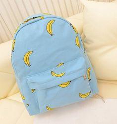 Милые девушки банан шаблон печать женщины рюкзаки , открытый накладки школьные сумки уникальный мода холст рюкзаккупить в магазине BagsintheboxнаAliExpress