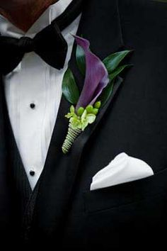 Deep purple mini calla lily and lime green hypericum berries boutonniere by Wild Orchid Custom Floral Design. www.wildorc.com