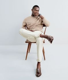 J.Crew | Cashmere sweater with natural selvedge jeans and loafers.