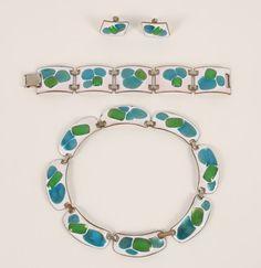 Kay Denning vintage enamel on copper modernist jewelry parure