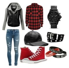 Fnaf night guard mike Schmidt outfit by mangle87 on Polyvore featuring polyvore, fashion, style, J.TOMSON, Yves Saint Laurent, Converse and Relic