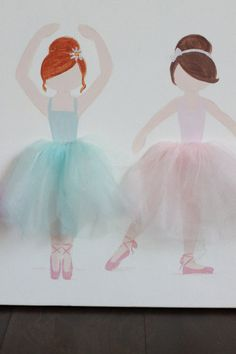 4 Ballerinas on 12x16. Acrylic Paint and Tulle. Copyright 2016.