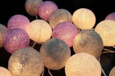 Light Purple Pastel Cotton Ball String Light  Fairy Light Bedroom or Party via Etsy