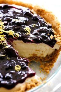 Lemon Blueberry Cream Pie A delicious and fresh lemon cream pie in a homemade graham cracker crust and topped with the most delicious homemade blueberry sauce. This is a perfect summertime treat! Lemon Blueberry Cream Pie A deli Blueberry Cream Pies, Lemon Cream Pies, Blueberry Recipes, Blueberry Sauce, Blueberry Lemon Pie Recipe, Fresh Blueberry Pie, Blueberry Topping, Blueberry Bread, Blueberry Cheesecake