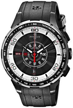 Perrelet Men's A1075/1 Turbine Analog Display Swiss Automatic Black Watch